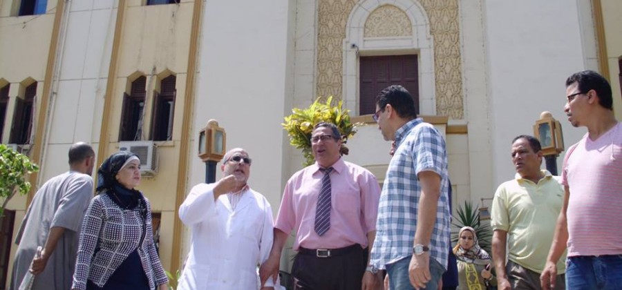 Mr. Dean of the Faculty of Medicine and Mr. general manager of Mansoura University Hospitals and Clinics inspecting sections hospital